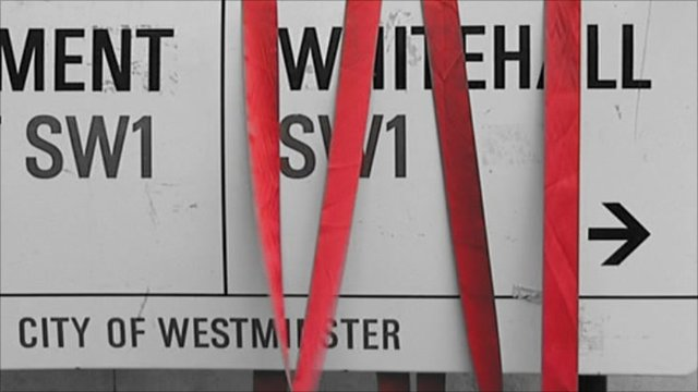 Red tape over Whitehall road sign