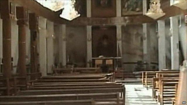 Scene inside the church