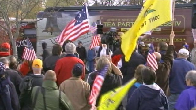 Campaigners waving flags in US