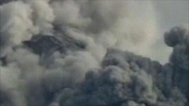 Smoke coming from Mount Merapi