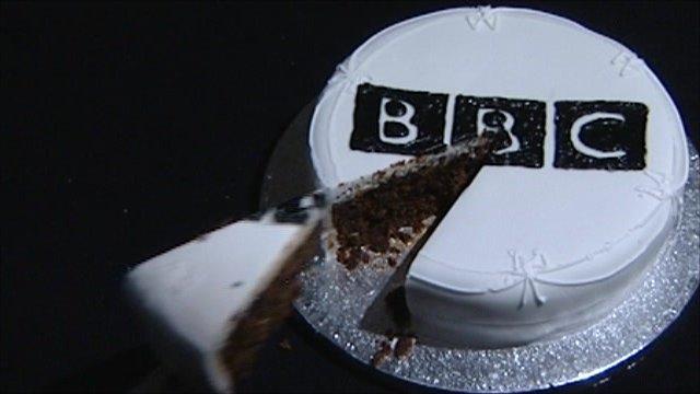 Cake with BBC logo
