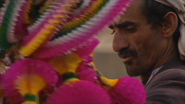 Man in Yemen market