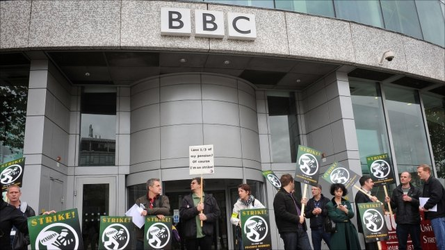 NUJ pickets at BBC TV Centre