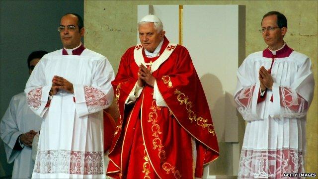 Pope Benedict XVI celebrating an open-air Mass