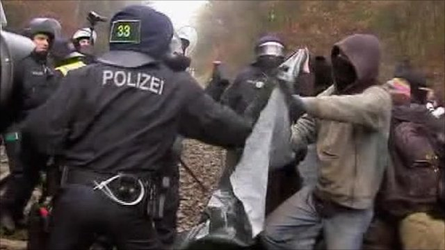 Protester clashes with police