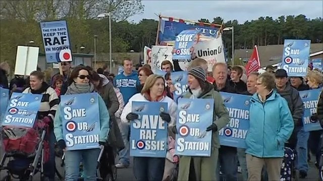 Campaigners at RAF Lossiemouth