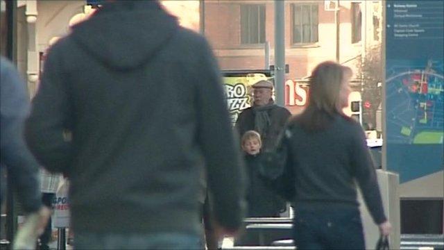 People walking through town centre
