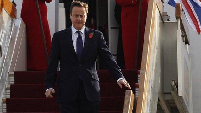 David Cameron arrives in China