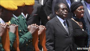 Robert and Grace Mugabe (right) attending a funeral in September 2010 at Heroes Acre