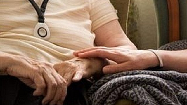 Elderly person in a care home