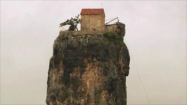 Monastery on rock in Georgia