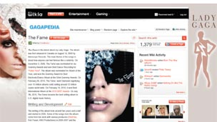 Screengrab of Lady GaGa wiki