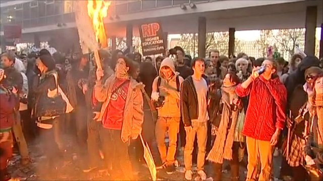 Students during the protest