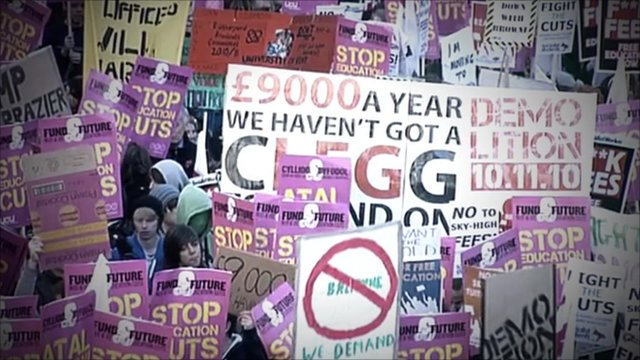 Tuition demo placards