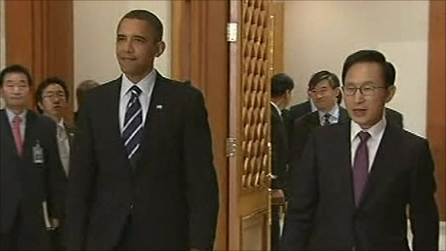 President Barack Obama and President Lee Myung-bak