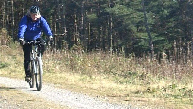 Mountain-biking in the Afan Valley in Wales