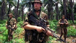 Marines patrolling in Sierra Leone