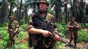 Marines patrolling in Sierra Leone