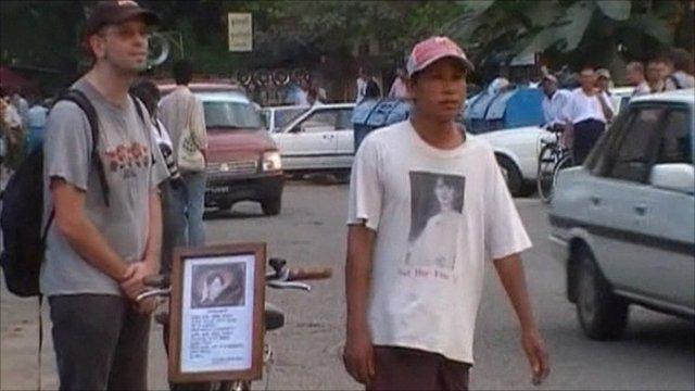 Supporters outside Aung San Suu Kyi's house