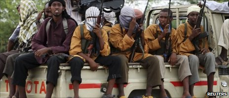 Somali Islamist fighters on a truck in Mogadishu on Thursday 11 November
