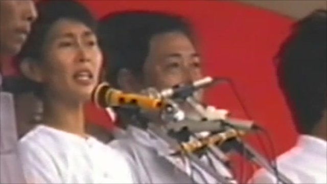 Aung San Suu Kyi's political debut in 1988