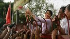Release of opposition leader Aung San Suu Kyi in Rangoon