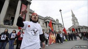 Aung San Suu Kyi's supporters in Trafalgar Square