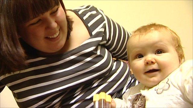 Katie Hide and her baby