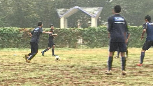Playing football in India