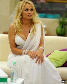 Pamela Anderson on the set of Big Boss