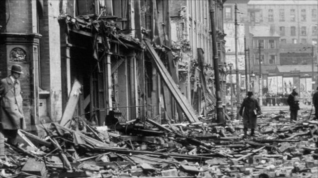 Wreckage caused during the Blitz in Birmingham