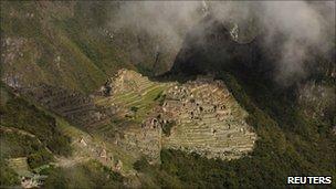 Aerial view of the Inca citadel of Machu Picchu in Cuzco, 3 November, 2010