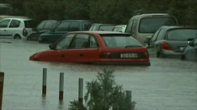 A car submerged by water