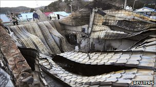 A building destroyed by North Korean artillery shelling, Yeonpyeong island, 25 November 2010
