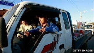 Residents evacuate Yeonpyeong Island, South Korea, 25 November 2010