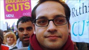 Aaron Porter, on protest on 10.11.10