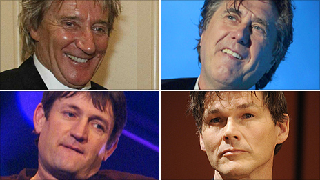 Clockwise from top left: Rod Stewart, Bryan Ferry, Morten Harket, Paul Heaton