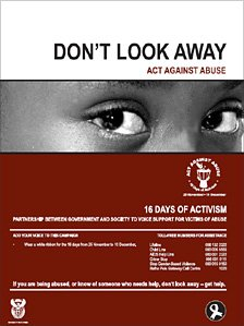 South African government poster about its 16 Days of Activism for No Violence Against Women and Children