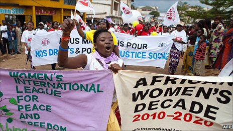 A Congolese woman shouts as she participates in the 'World March of Women' in Bukavu, South Kivu Province in the Democratic Republic of Congo, on 17 October 2010