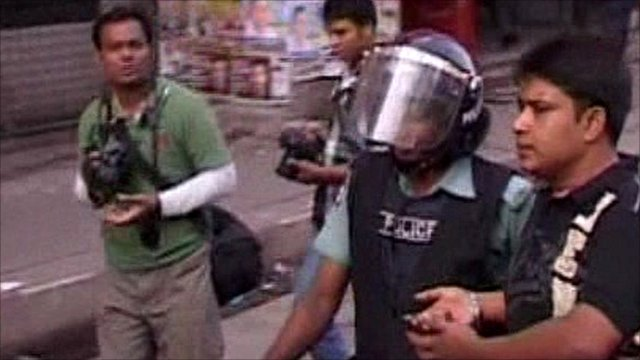 Bangladeshi protester taken away by police