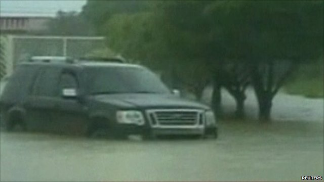 Car stuck in floodwater
