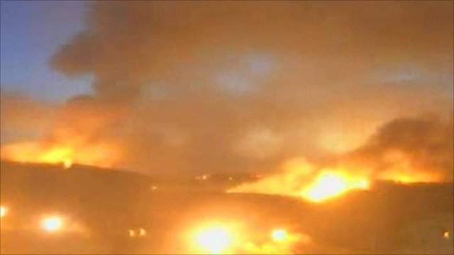 Time lapse images show the fires taking hold