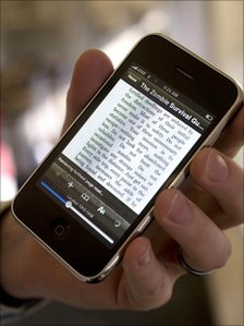 Someone using Amazon's Kindle for iPhone app