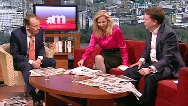 Historian Amanda Foreman and Chief Executive of Save the Children, Justin Forsyth review the Sunday papers on the Andrew Marr Show.