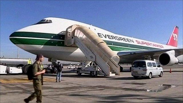 US 747 supertanker firefighting plane