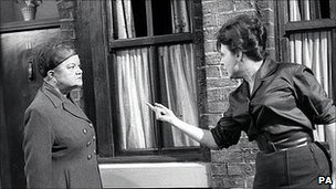 Violet Carson as Ena Sharples and Pat Phoenix as Elsie Tanner