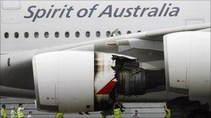 Damaged Rolls-Royce engine on Qantas Airways A380 passenger jet