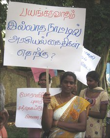 "Protest last year in the northern Sri Lankan town Vavuniya, the placard says ""what is the need to keep poltical prisoners when there's no terrorism"""