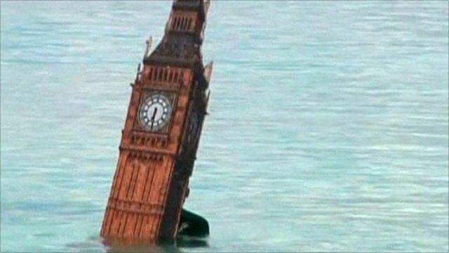Big Ben symbol in the sea