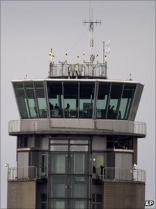 A control tower at Barajas Airport, Madrid, 5 December